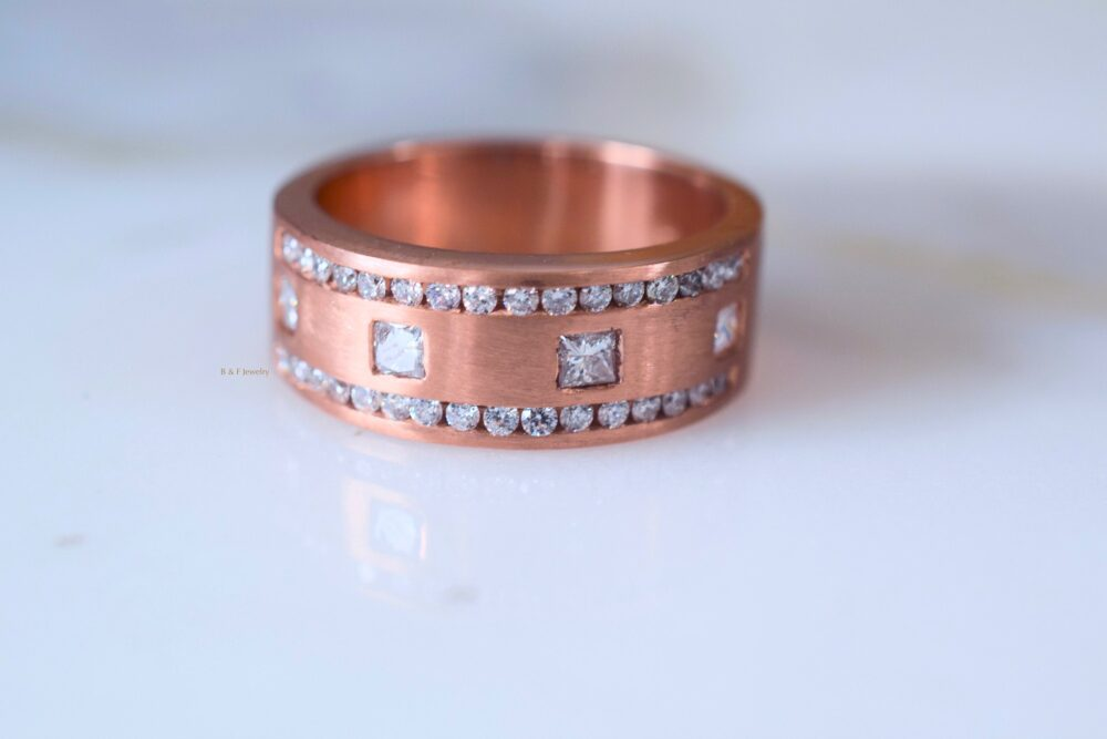 14K Rose Gold Mens Diamond Band