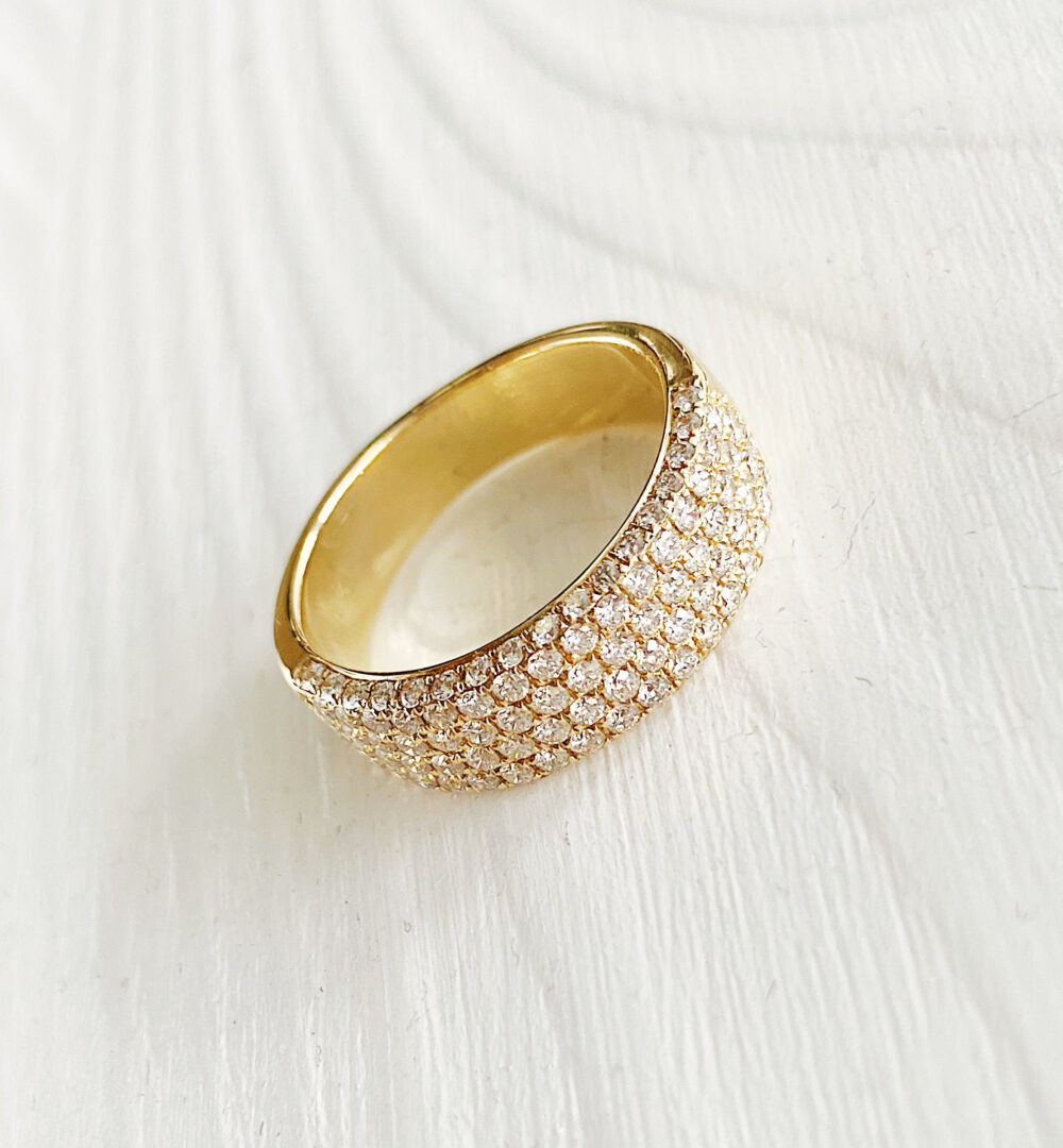 14K Diamond Pave Yellow Gold Solid Gold, Half Men Ring, Band Diamonds