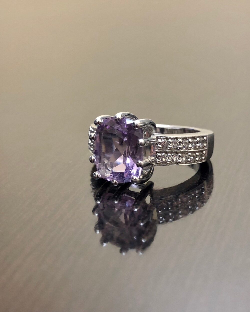 sterling Silver Art Deco Cushion Cut Amethyst Engagement Ring - White Topaz Wedding