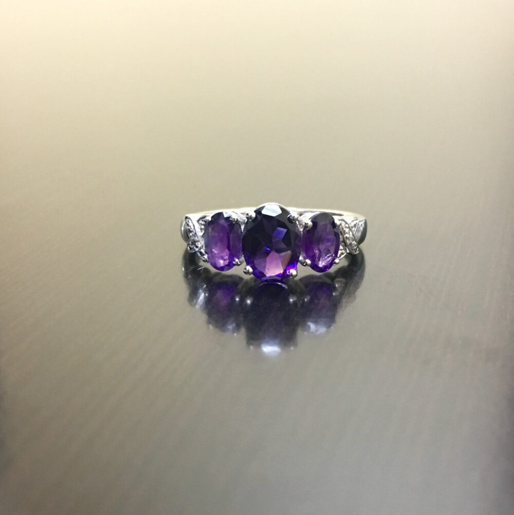 Sterling Silver Art Deco Diamond Amethyst Engagement Ring - Three Stone Wedding Oval