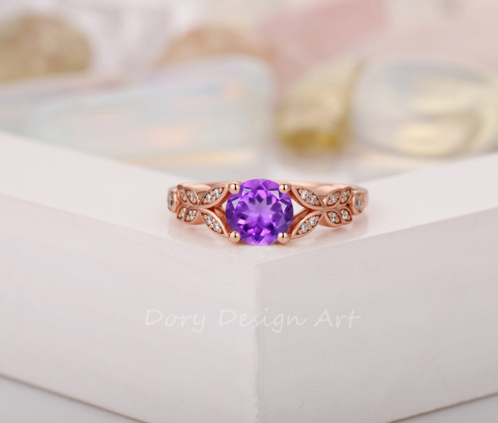 Vintage Moissanite Accents Ring, Round Cut 6.5mm Natural Amethyst Engagement Solid 14K Gold Retro Women's Wedding Promise Ring