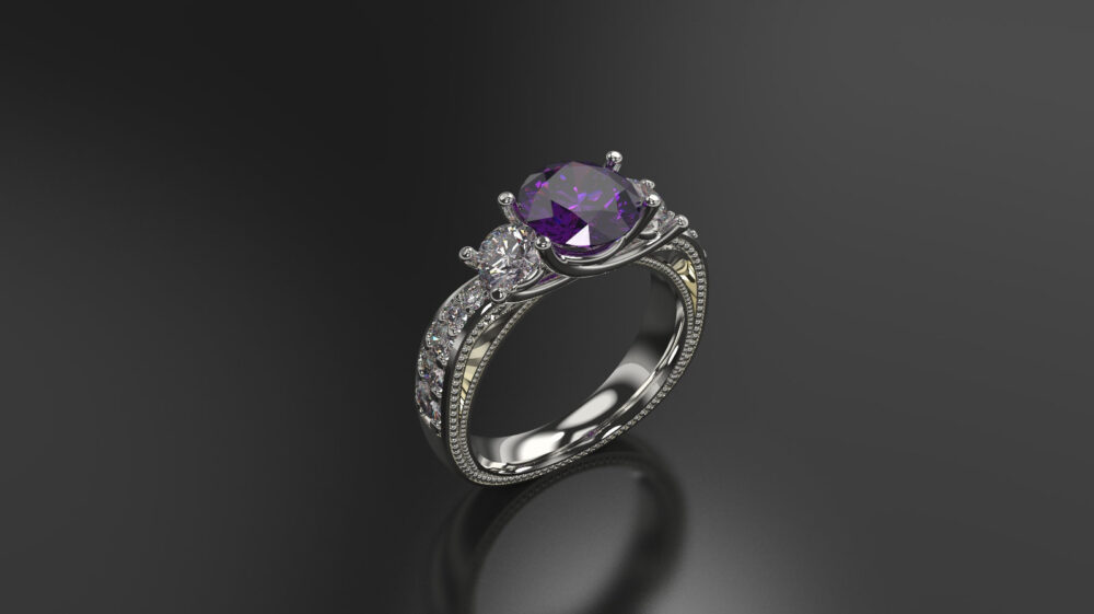 Amethyst Engagement Ring White Gold