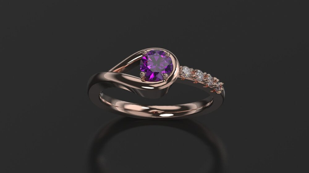 Amethyst Engagement Ring Rose Gold