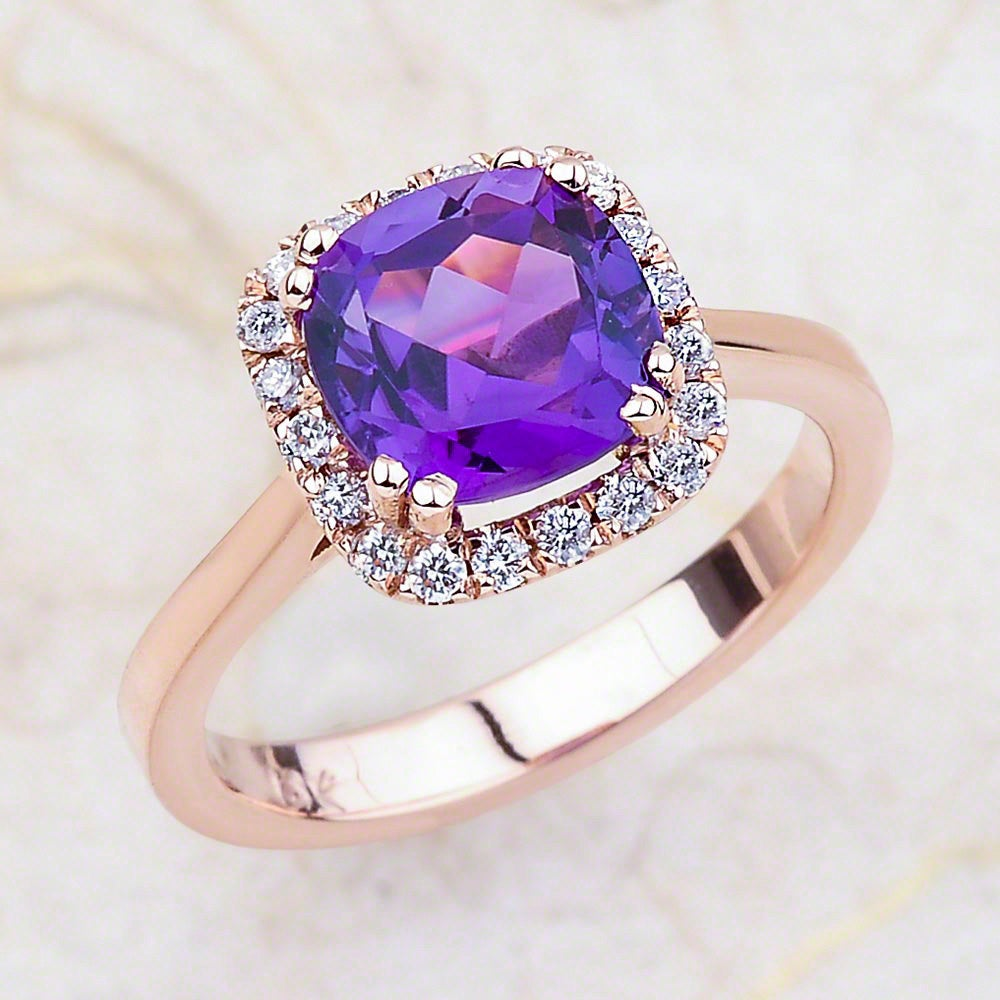 Amethyst Engagement Ring in 14K Rose Gold/Cushion Halo