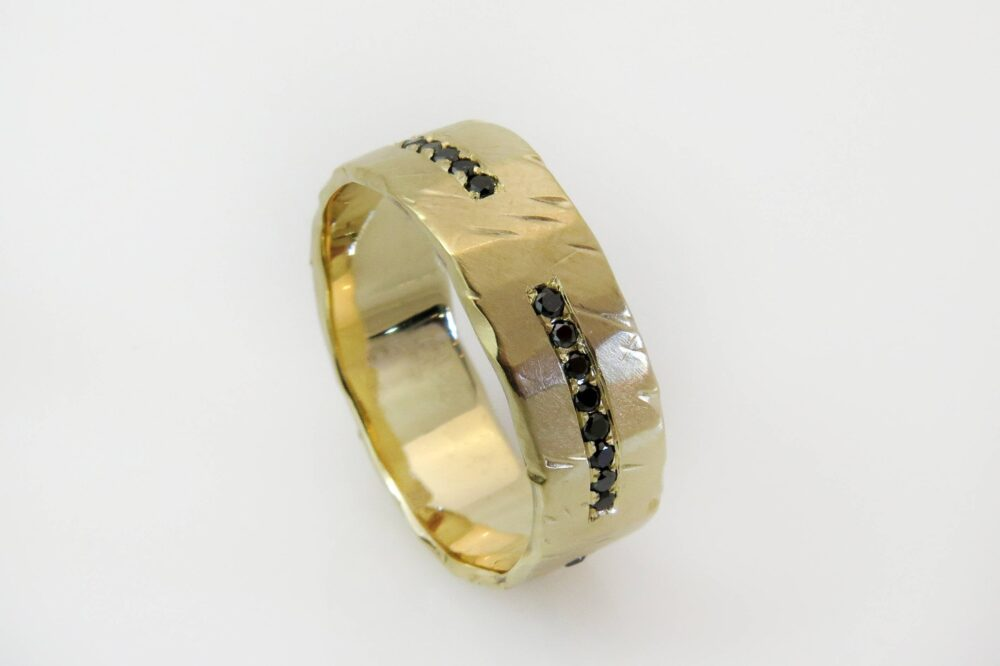 Rustic Wedding Band, Hammered Gold Mens Diamond Black Yellow Wide Band