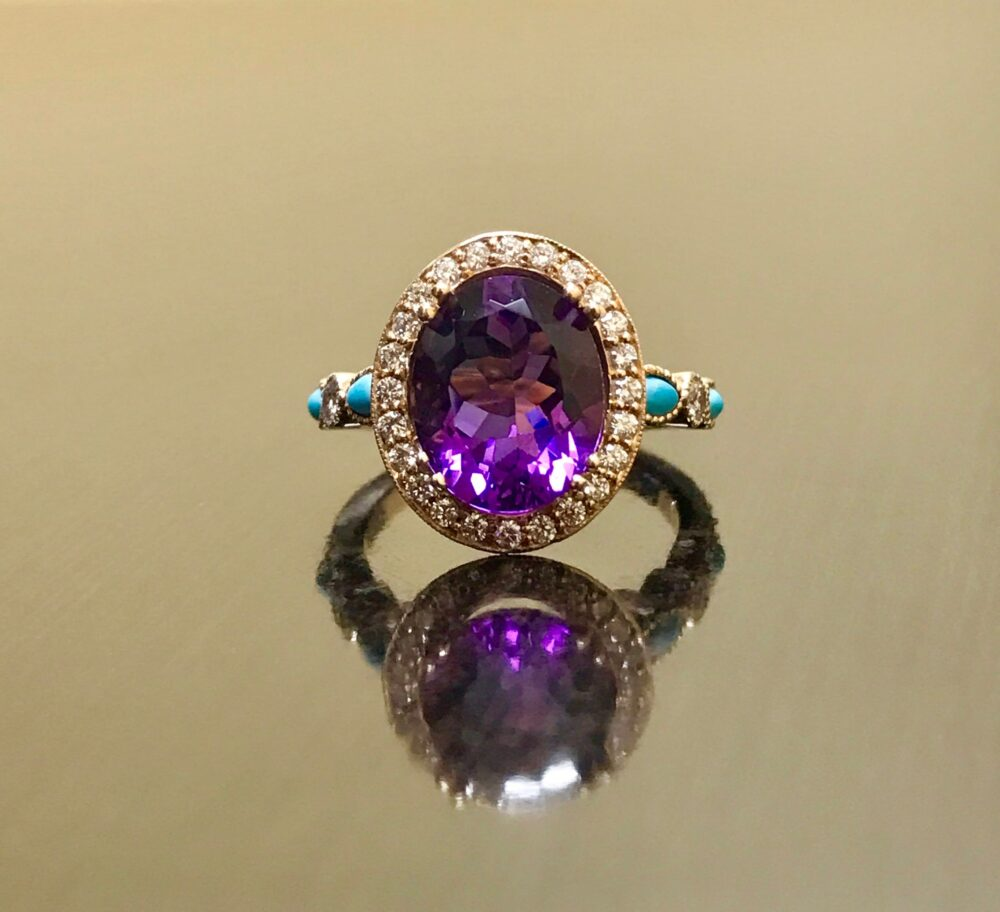 18K Rose Gold Turquoise Diamond Halo Amethyst Engagement Ring - Wedding