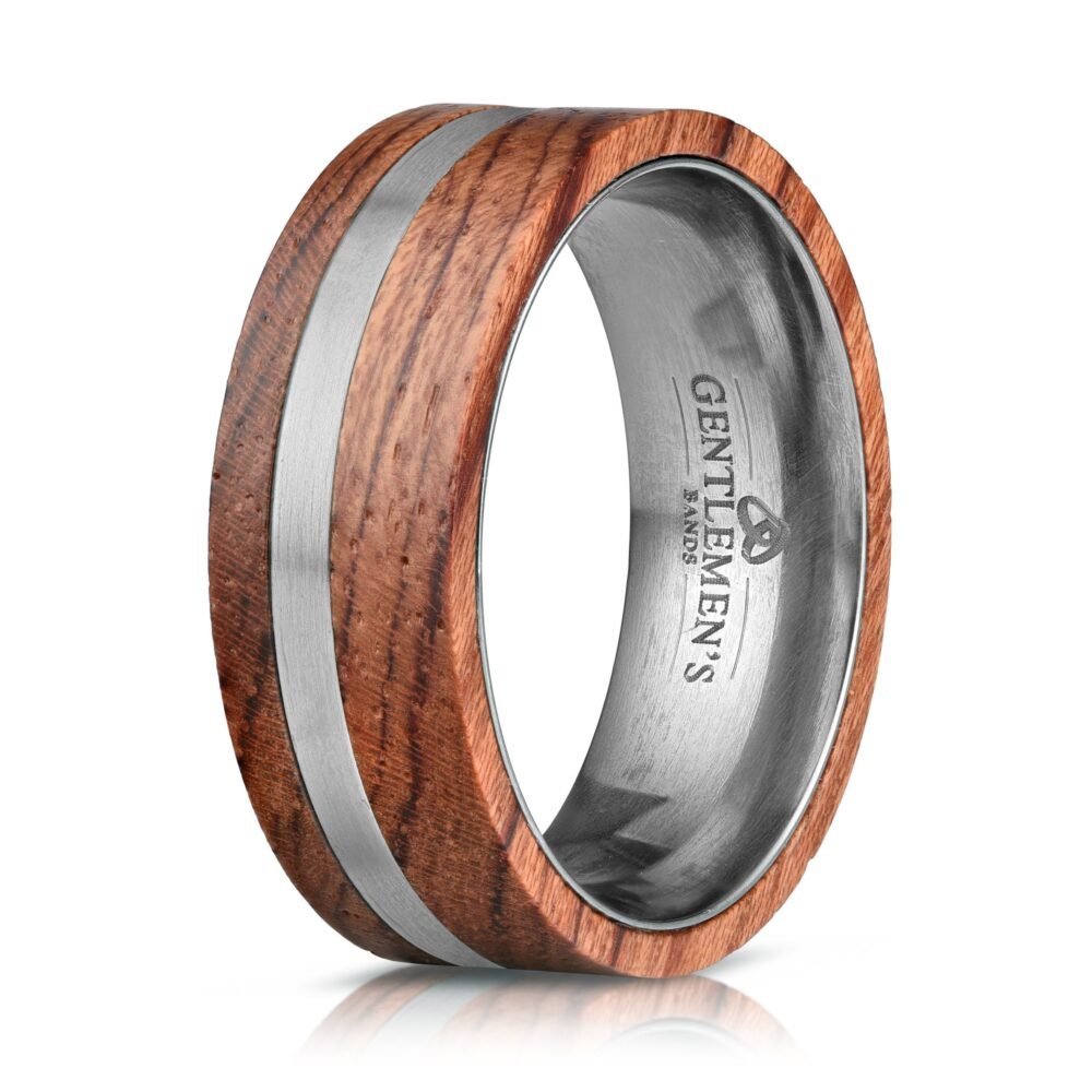 Rose Wood Mens Ring, Wedding Band, Ring, Titanium Band, Ring Inlay 8mm Unique Wooden Rings Men