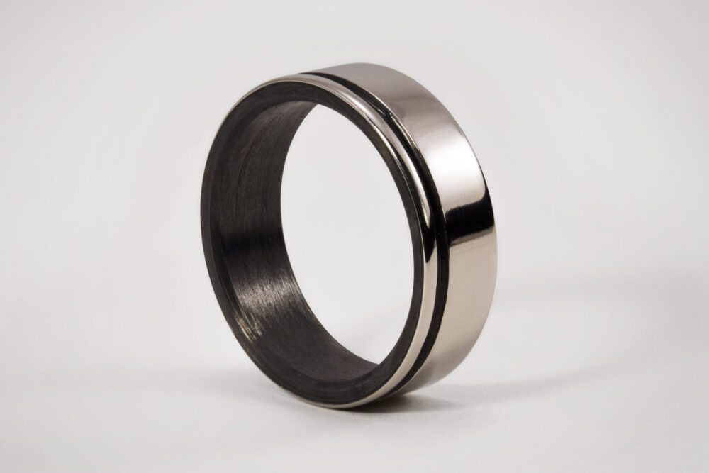 Mens Titanium Wedding Ring With Inner Carbon Fiber, Solid Black Low Relief Design, Engagement Ring, Handmade Jewelry