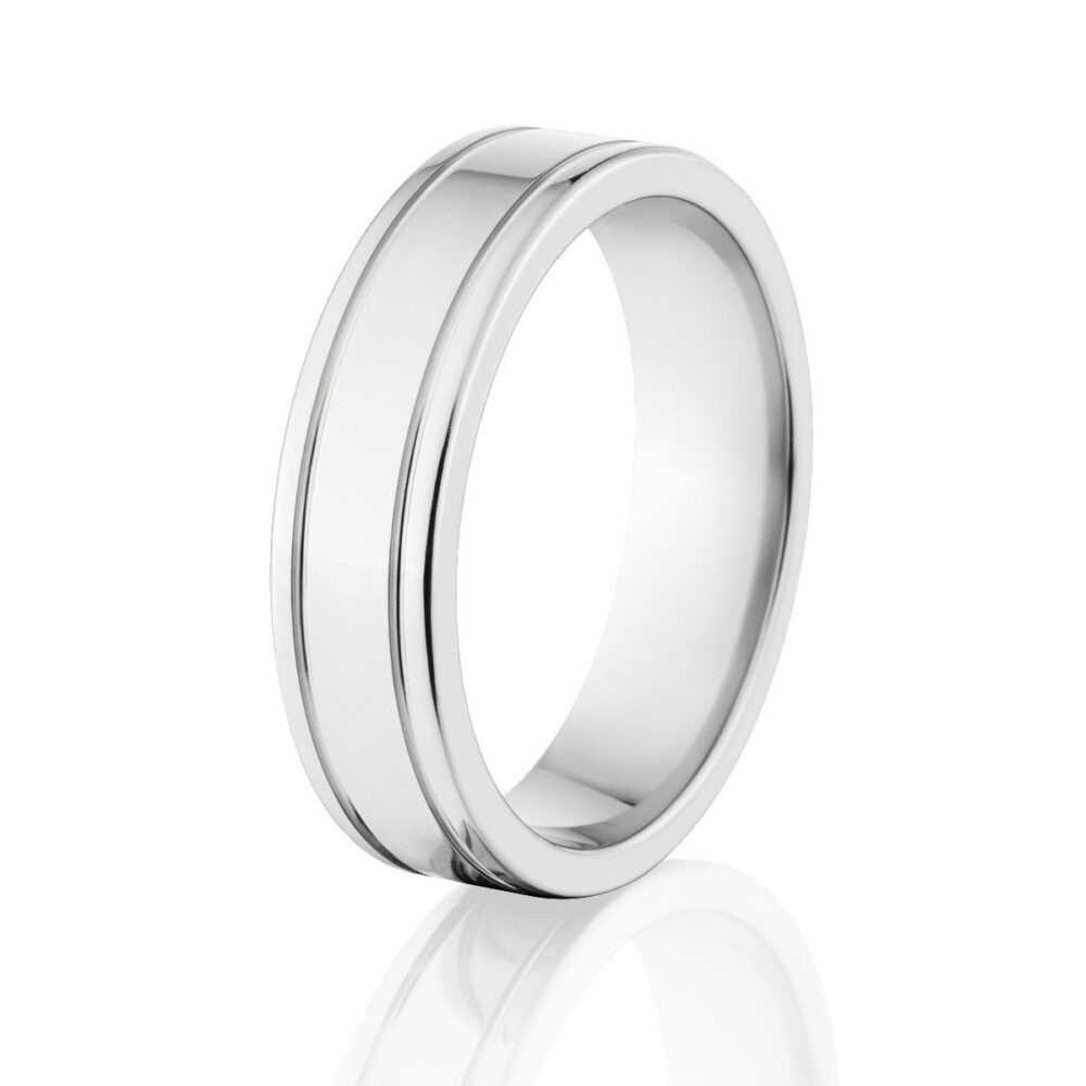 Cobalt Wedding Rings, Bands, Polished Chrome Ring Cb-6F2.5G-P