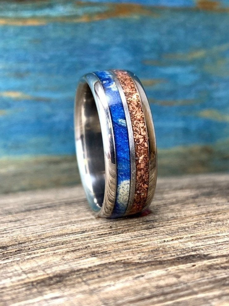 Mens Titanium Wedding Ring - Copper For Him Wooden Band Unique Men's