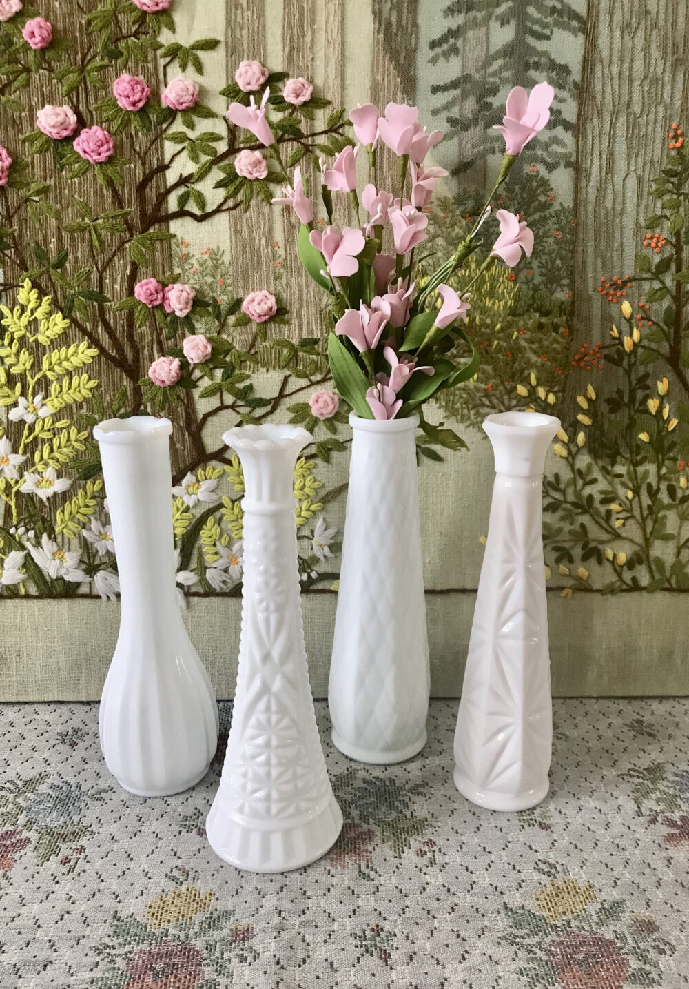 Milk Glass Vases For Centerpiece Wedding Bud Vase Lot White Bulk Flowers Old