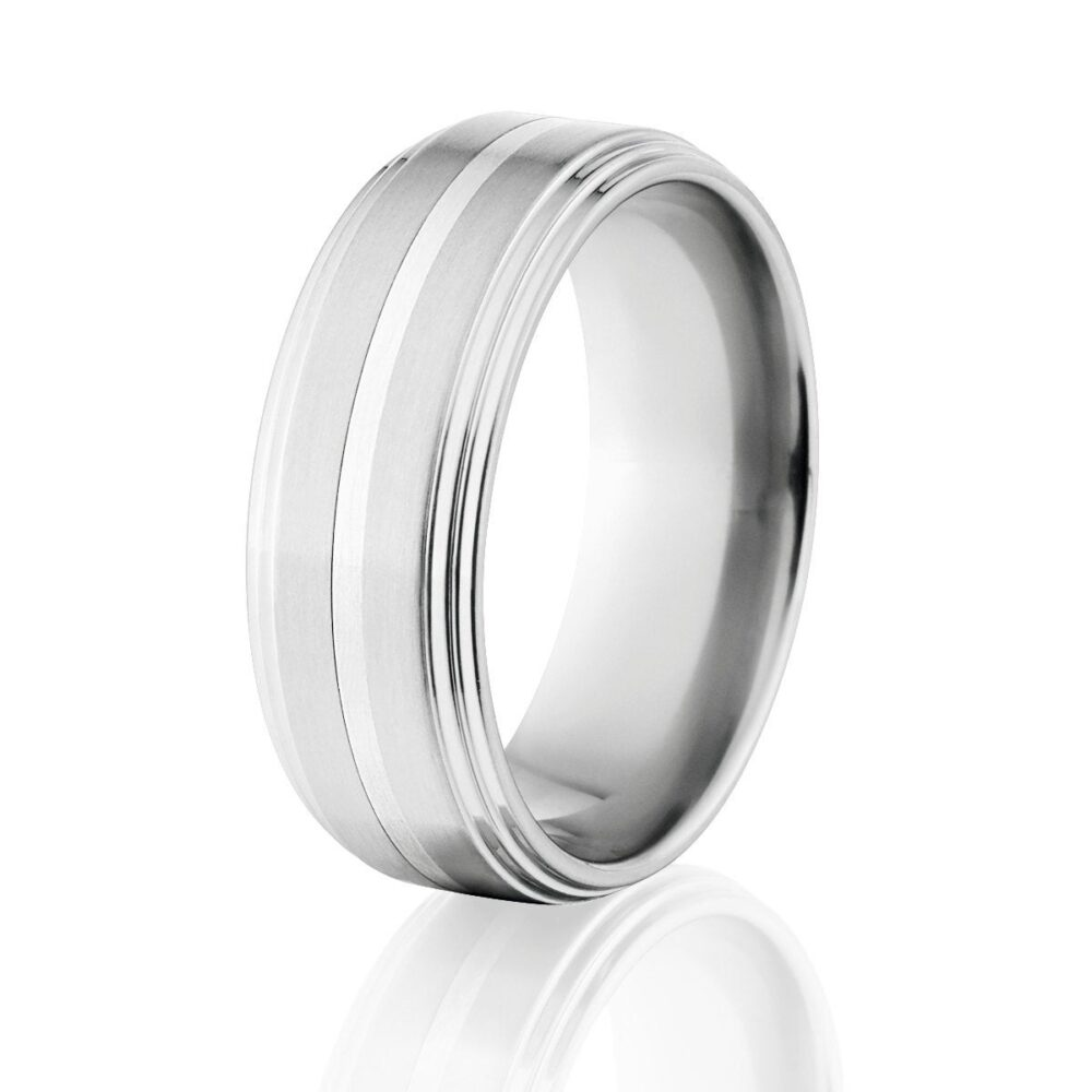 Flat Top With | 2 Step Down Sides W/Silver Inlay Cobalt Chrome Ring Usa Made Wedding Band Cob-8F2S11Cg-Silver-Inlay