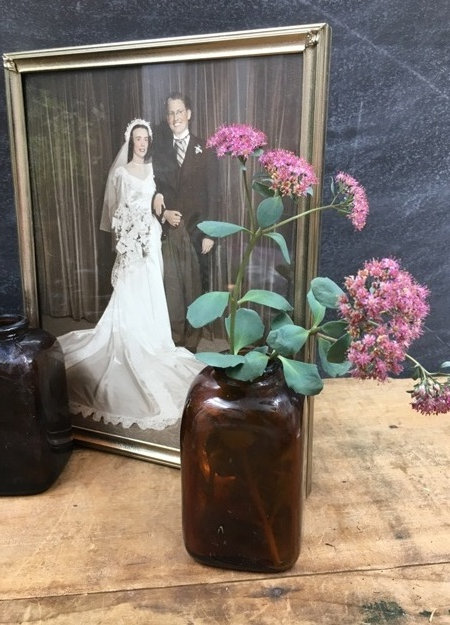 Brown Glass Bottle Wedding Bud Vase Antique Apothecary Type No Lid 20 Available