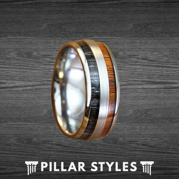 Gabon Ebony & Koa Wood Titanium Ring - Mens Wedding Band Dual Inlay Unique Anniversary