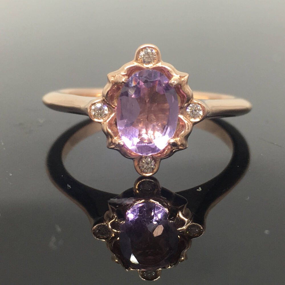 Rose Gold Amethyst Engagement Ring - 14K Diamond Vintage Inspired Pastel Victorian