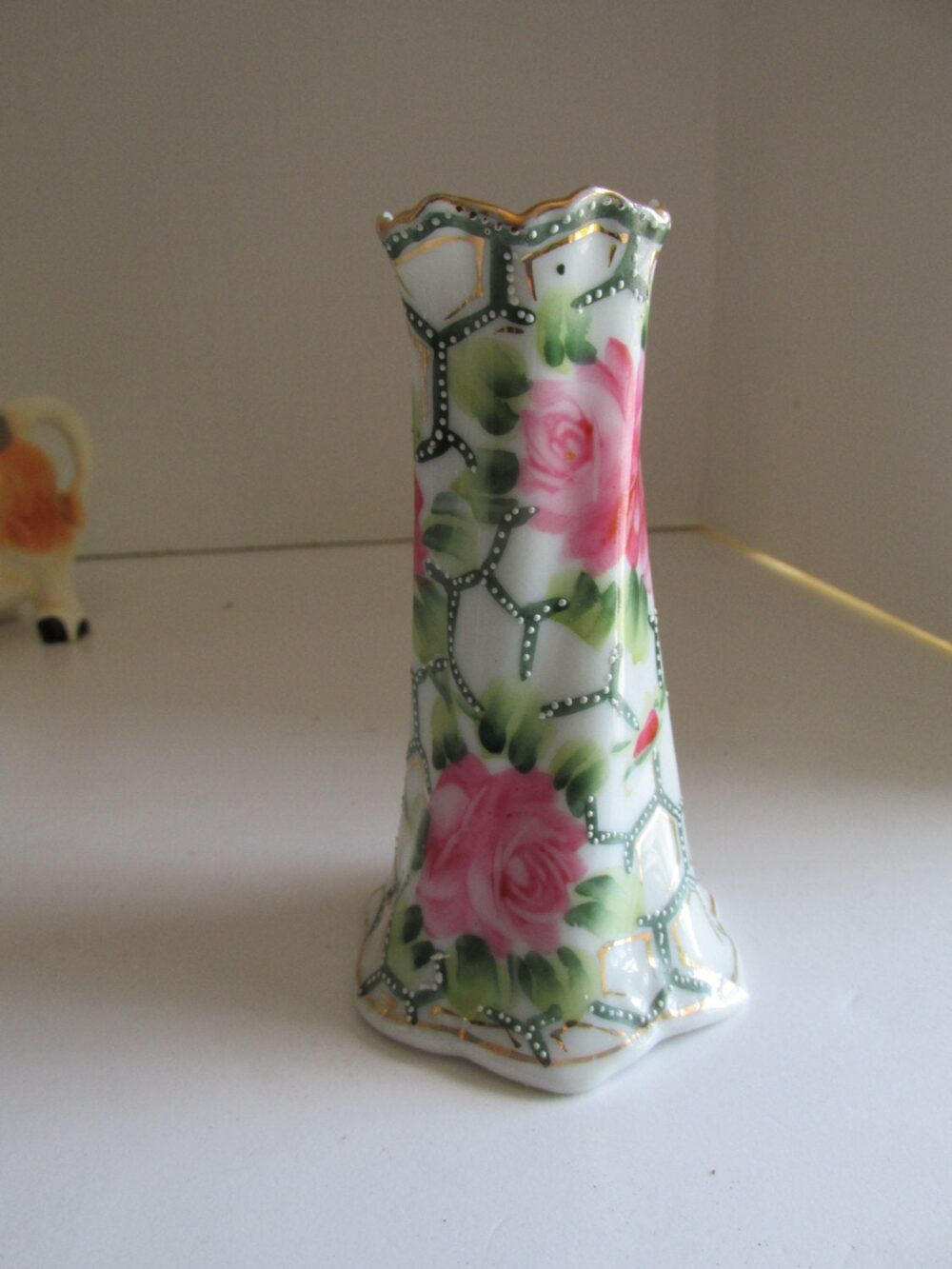 Antique Wedding Accents Rose Vase Delicate Porcelain Hand Painted Nippon Wedding Bud Shabby Decor Vases
