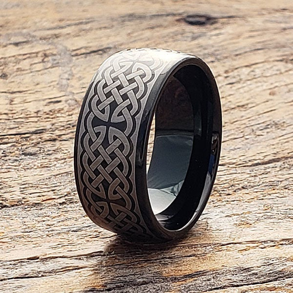 Celtic Knot Ring, Black Tungsten Wedding Band, Men's Cross Couples Band