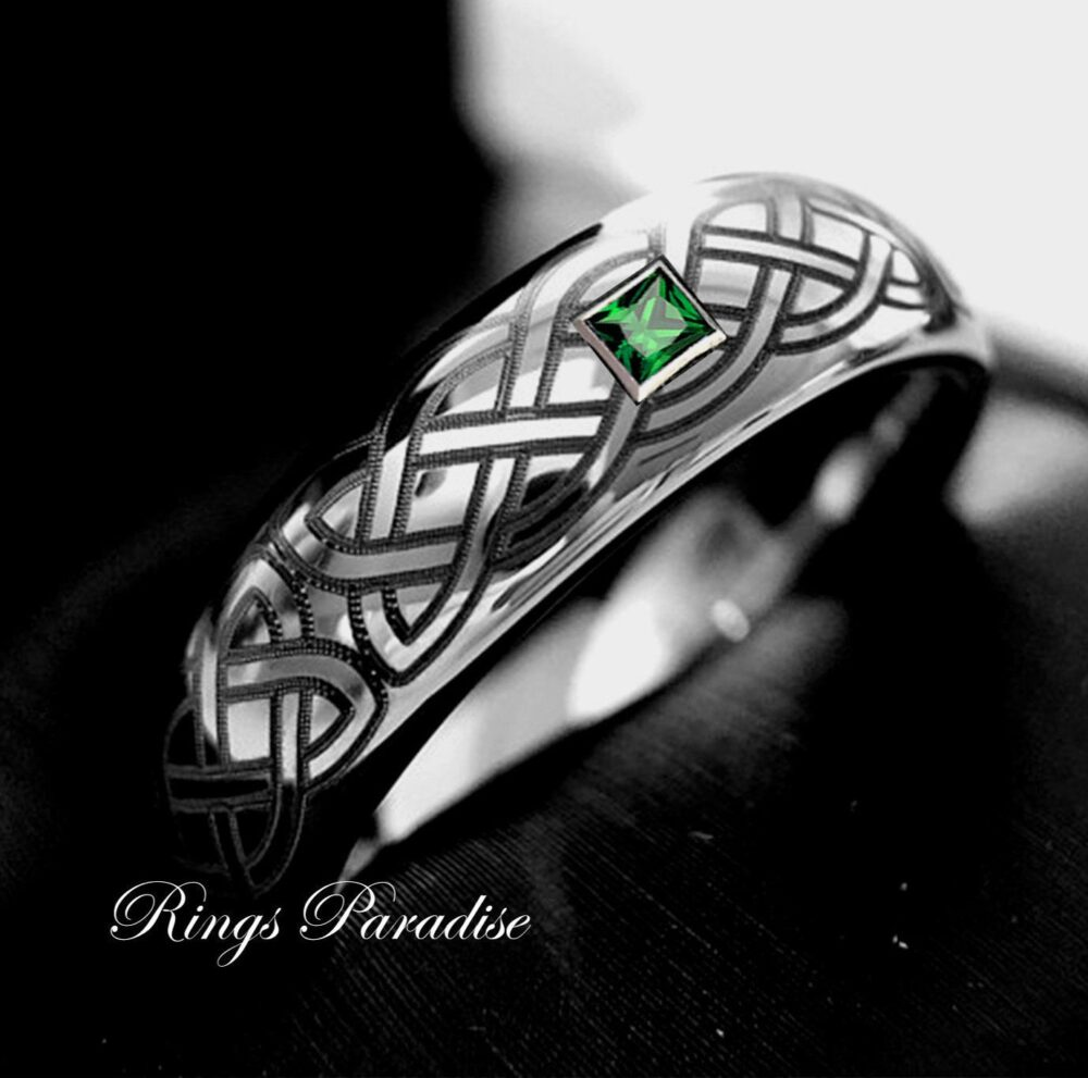 Mens Wedding Band, Tungsten Rings, Celtic, Bands, Celtic Design Ring, His & Her Promise Emerald Stone Ring