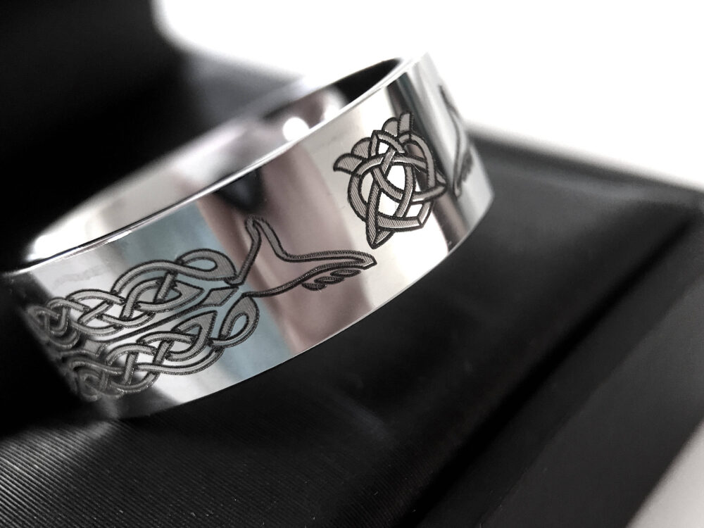 Mens Tungsten Wedding Bands, Celtic Band, Women Ring, His Her Promise Claddagh Rings, & Hers Jewelry