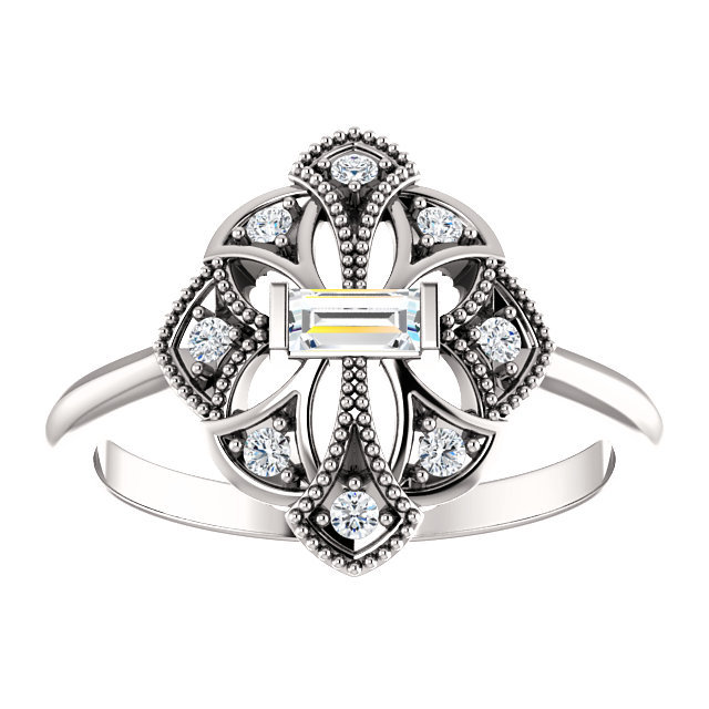Vintage Inspired Diamond Rng, White, Yellow, Or Rose Gold Options, Promise Ring, Vow Renewal Ring For Wife