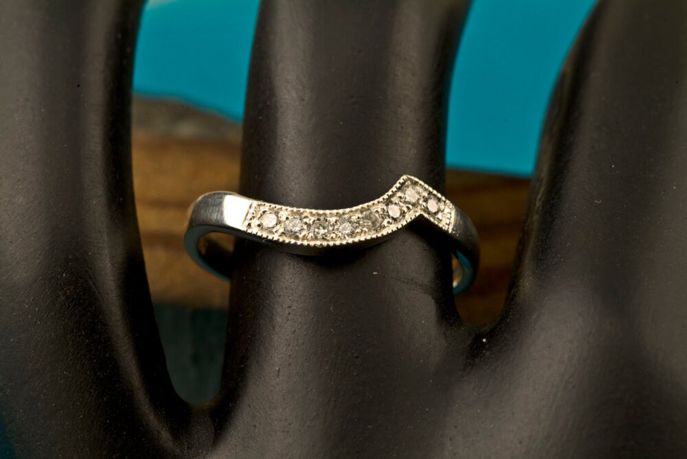 Diamond Pave Wedding Band, Curved Modern Ring, Vow Renewal Silver, 14Kt White, Yellow Or Rose Gold