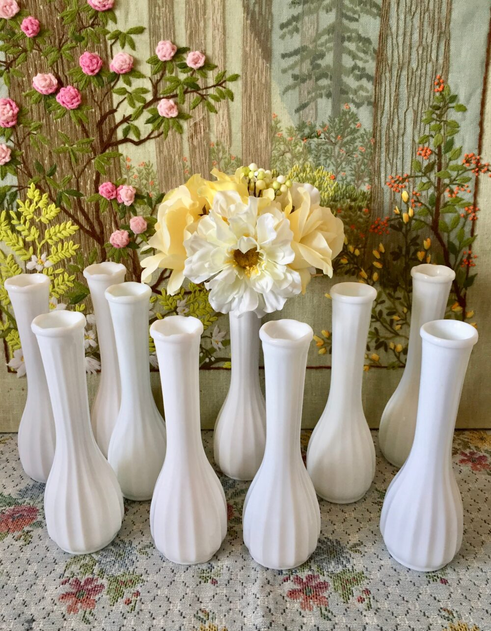 Milk Glass Vases For Flowers Decor Centerpiece Wedding Bud Vase Lot White Bulk Vintage