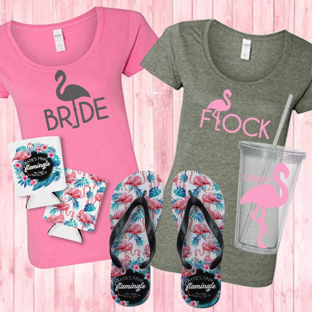 Flamingo Final Flamingle Bachelorette - Bridal Party Shirts, Can Cooler, Tumbler, Flip Flops
