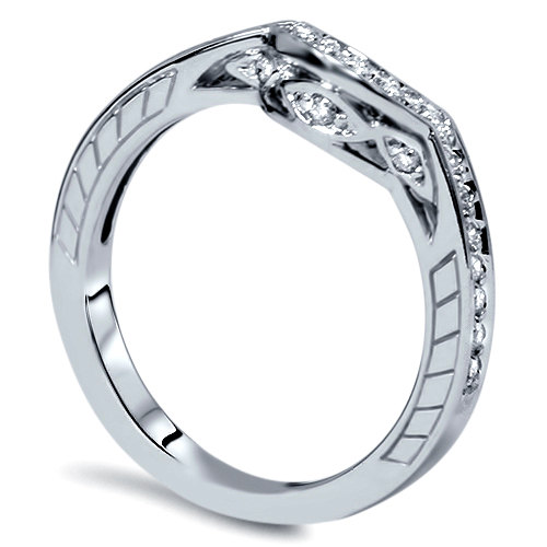 1/4Ct Diamond Vintage Antique Enhancer Guard Curve Womens Band Ring 14K White Gold Size 4-9