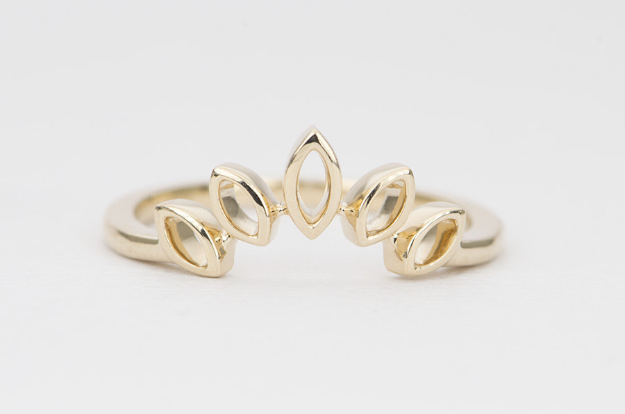 Marquise Crown Ring Solid 14K Gold Unique Wedding Band Hollowed Curve Tiara Stacking Nesting Rings Enhancer Guard Sunburst Ad1402
