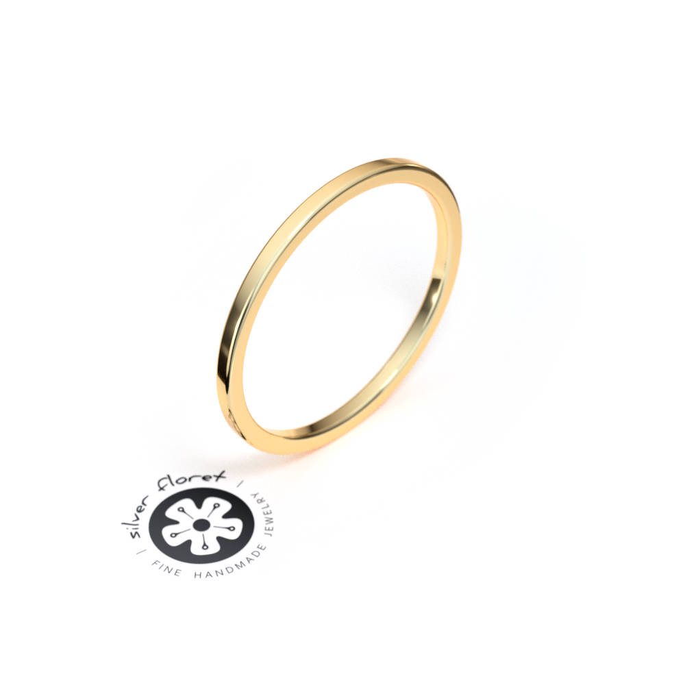 1.25mm Ultra Thin Yellow Gold Band, 10K 14K 18K Solid Gold, Square Tiny Plain Midi Knuckle Flat Ring Spacer, Divider, Guard