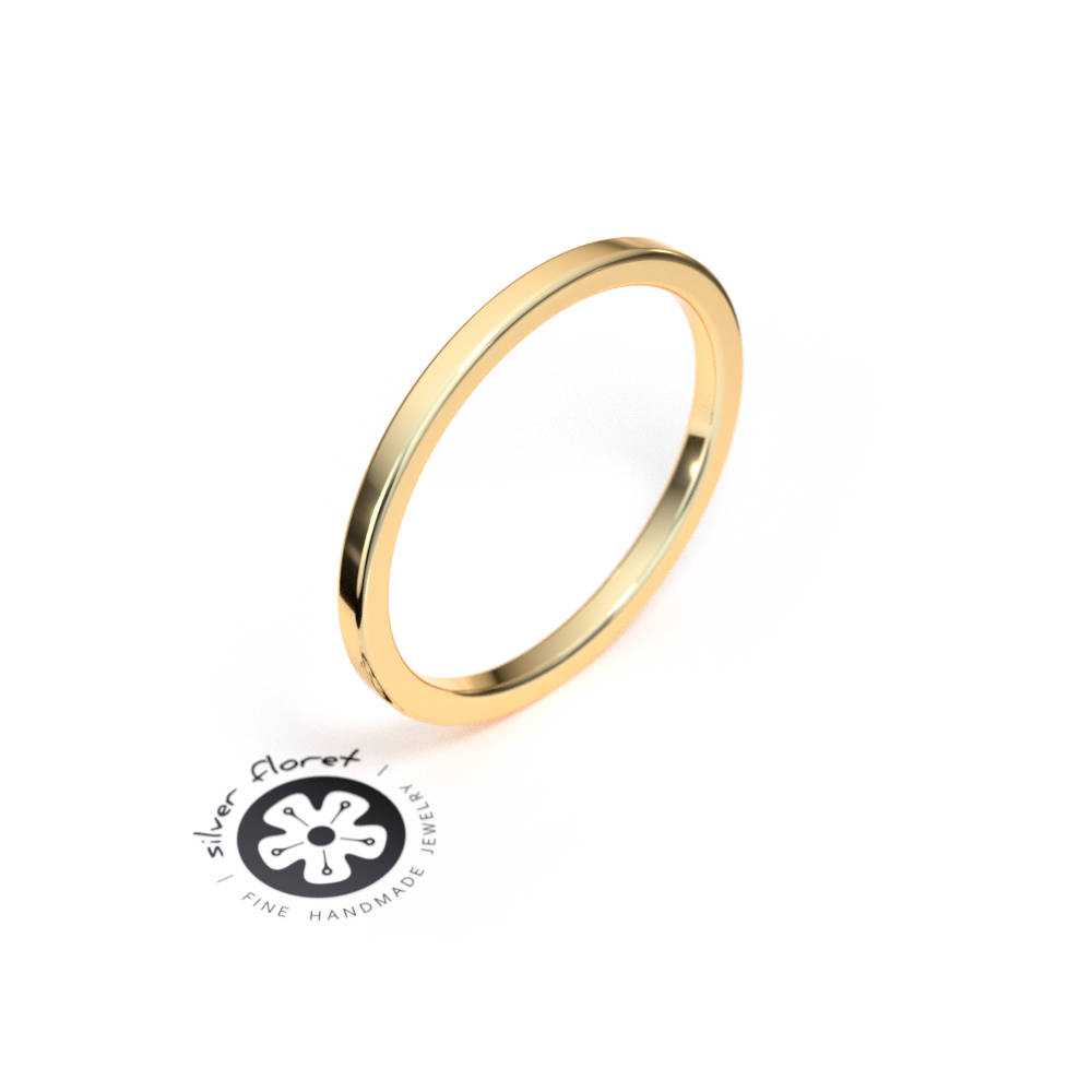 1.5mm Thin Yellow Gold Band, 10K 14K 18K Solid Gold, Square Tiny Plain Midi Knuckle Flat Ring Spacer, Divider, Guard
