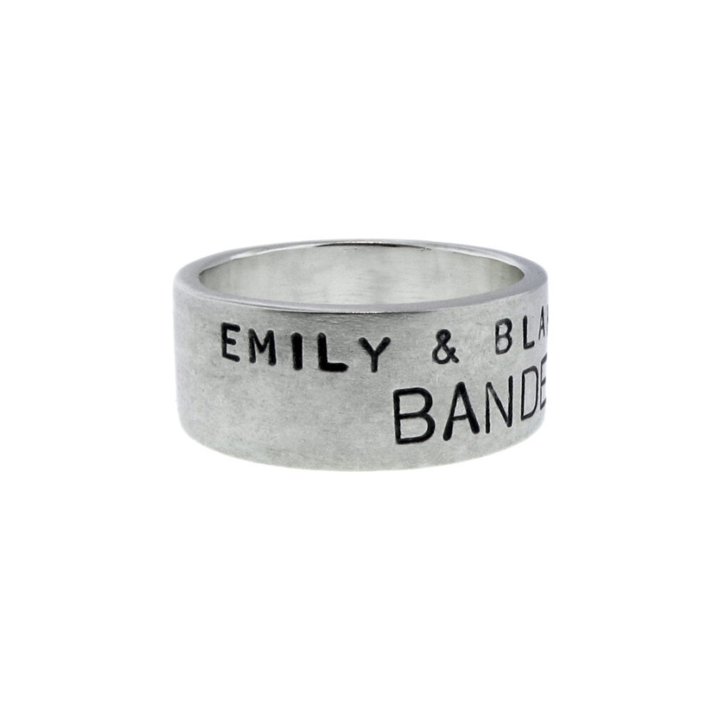 Featured in Savannah Weddings Magazine Sterling Silver Banded Ring Personalized Wedding Band Hand Stamped Names Date Vows Custom Jewelry
