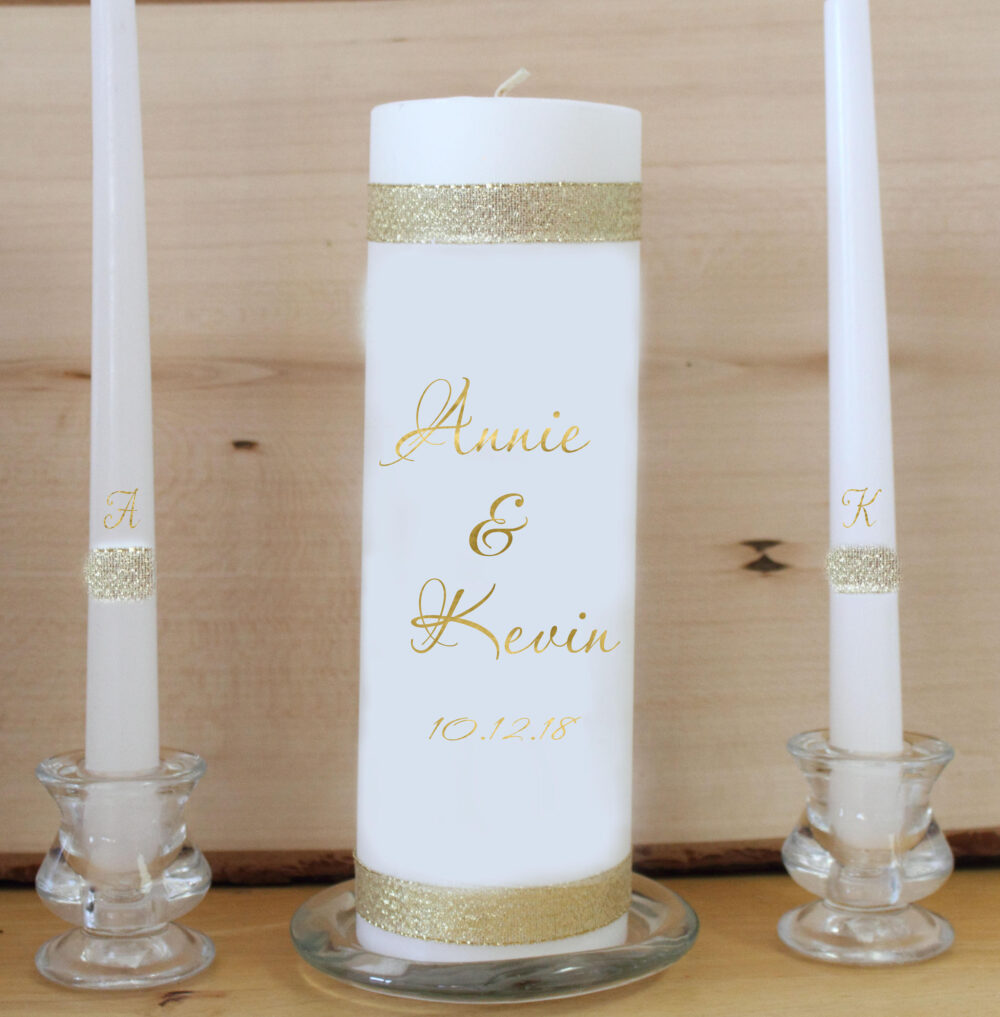Unity Candle Set For Wedding Monogram Gold 3 Piece Set Wedding Unity Ceremony Candle Ceremony Custom Rustic