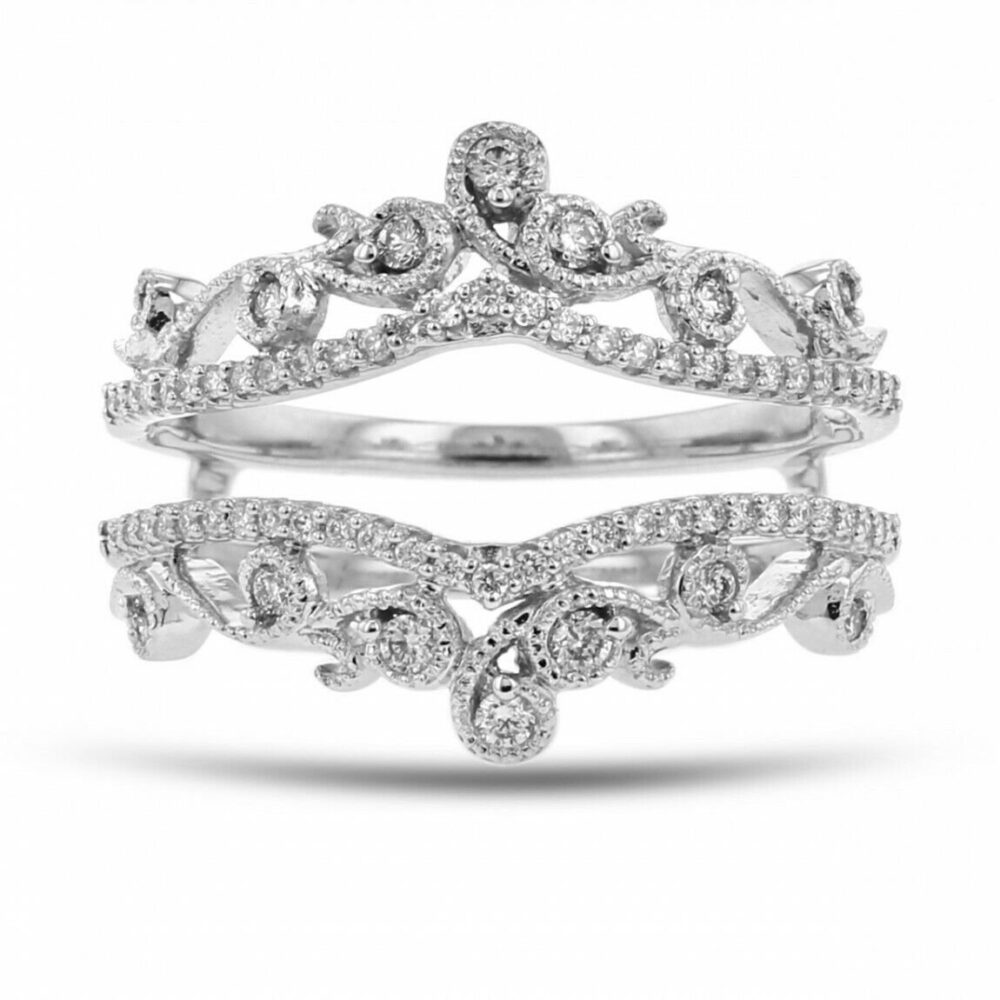 1.40 Ct Diamond Engagement Ring 925 Sterling Silver Enhancer Guard