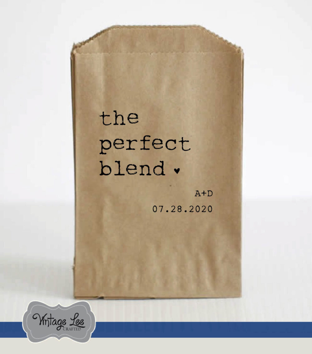 Wedding Favor Bags, Coffee The Perfect Blend Trail Mix Bags