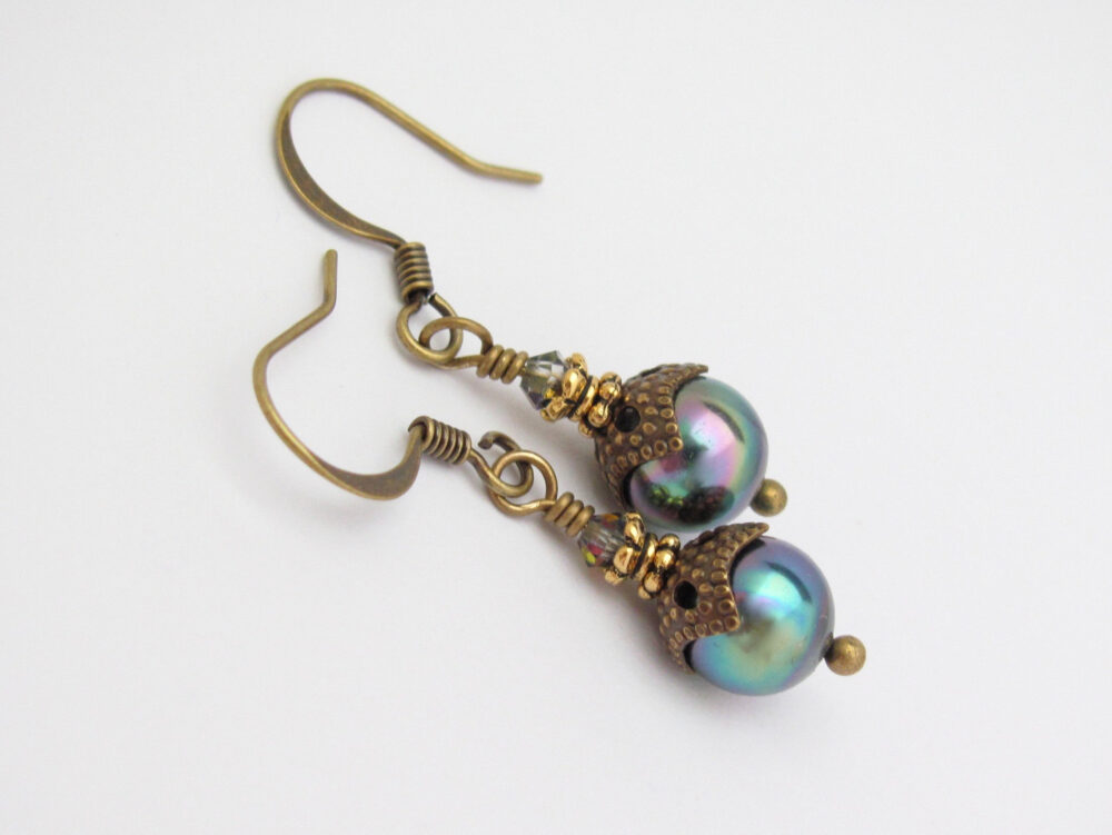 Mystic Pearl Earrings Peacock Blue Shell Swarovski Crystal Antiqued Brass Wedding Bridesmaid Birthday Gift
