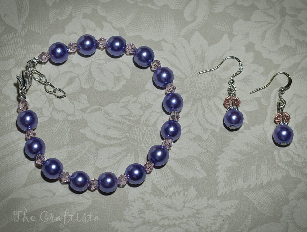 Bridesmaid Bracelet & Earrings Lavender Glass Pearls Pink Crystals Bridesmaids Flowergirls