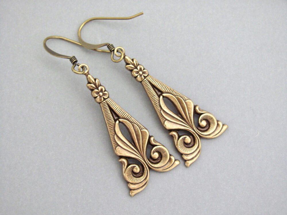 Art Deco Earrings Antiqued Brass Nouveau Design Bridesmaid Bridal Wedding Gift Clip On
