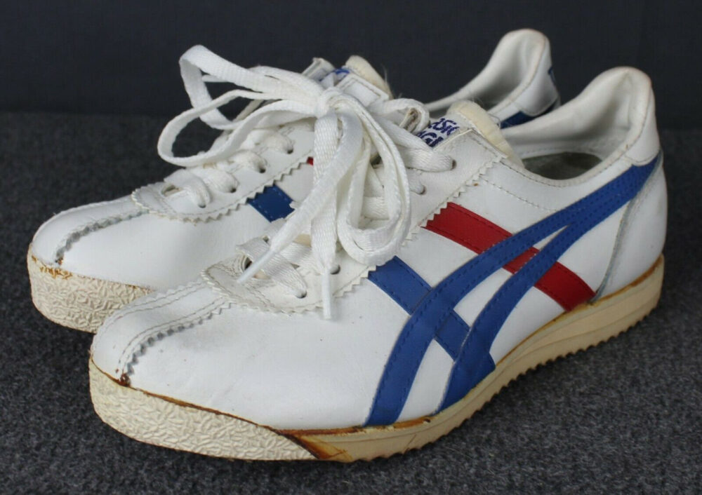 Vintage 70's-80's Asics Tiger Onitsuka Leather Running Athletic Shoes Size 3.5 Please See Full Item Description