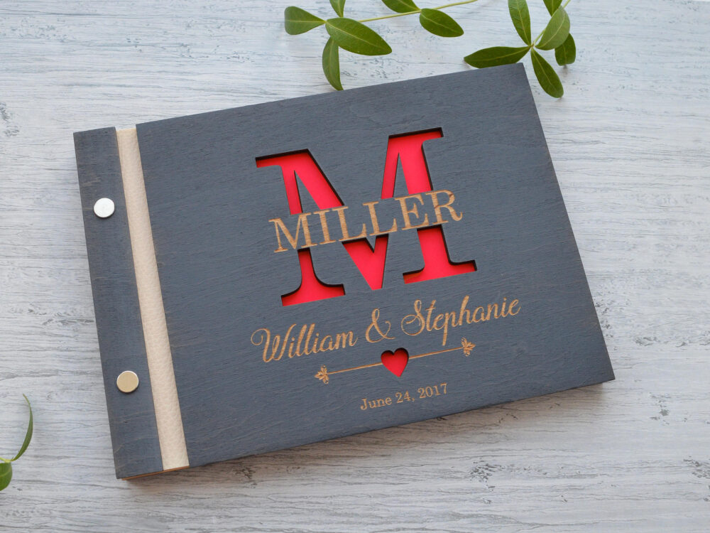 Monogram Guest Book, Personalized Guestbook, Custom Wedding Rustic Sign Wooden Size 6x8 In