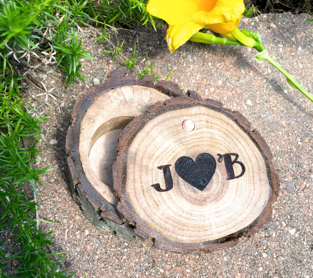 Wood Ring Box Initials Heart Custom Jewelry Personalized Rustic Country Wedding Engagement Bearer Laser Engraved Wooden Gift Holder