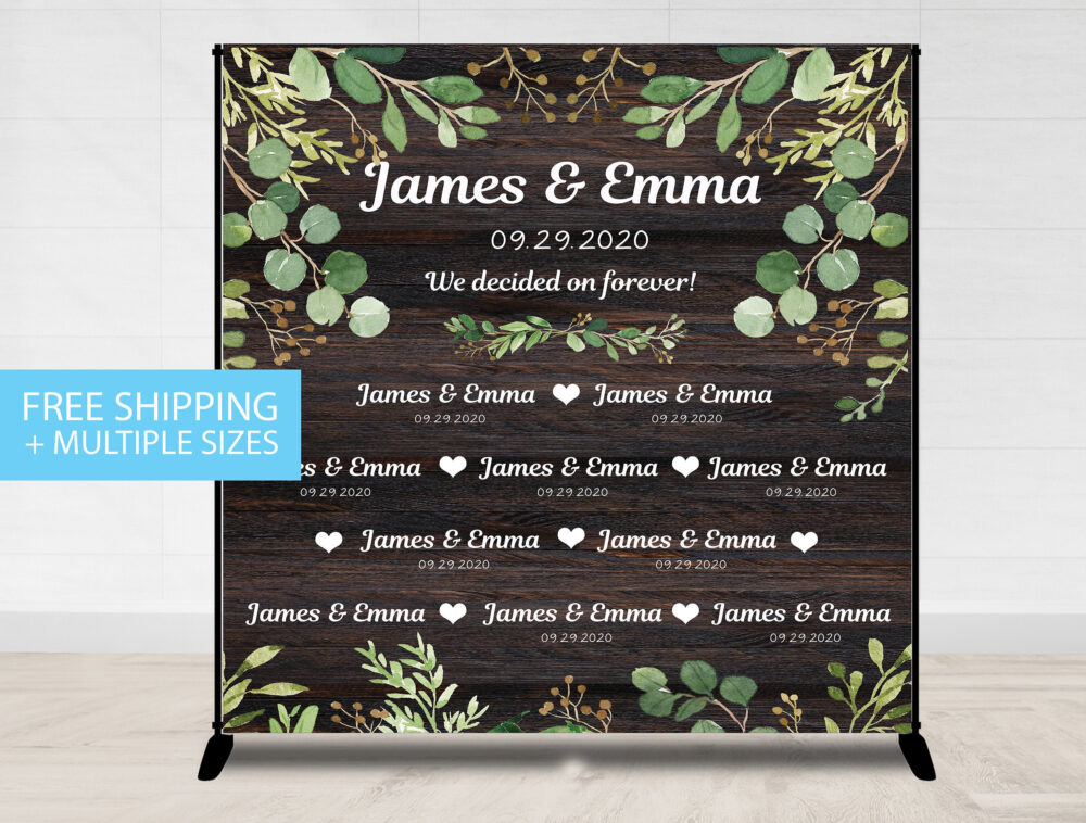 step & Repeat, Wedding Rustic Backdrop, Wood Greenery Backdrop Bridal Shower Banner Country