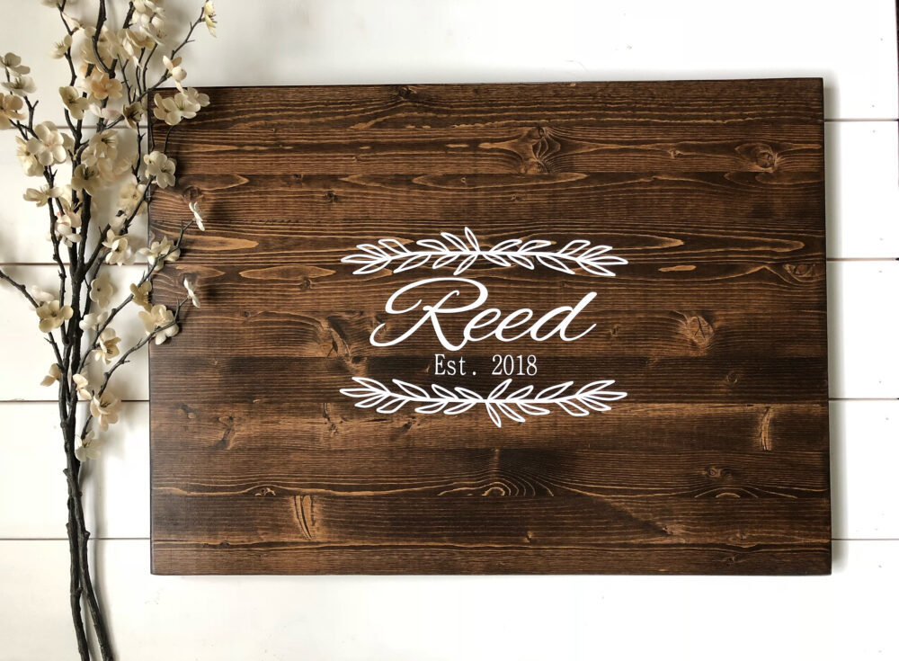 Rustic Wedding Guest Book Alternative /Family Name Laurel Leaf Design/Rustic Decor Wood Country Gift