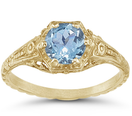 Antique-Style Victorian-Period Floral Blue Topaz Ring in 14K Yellow Gold