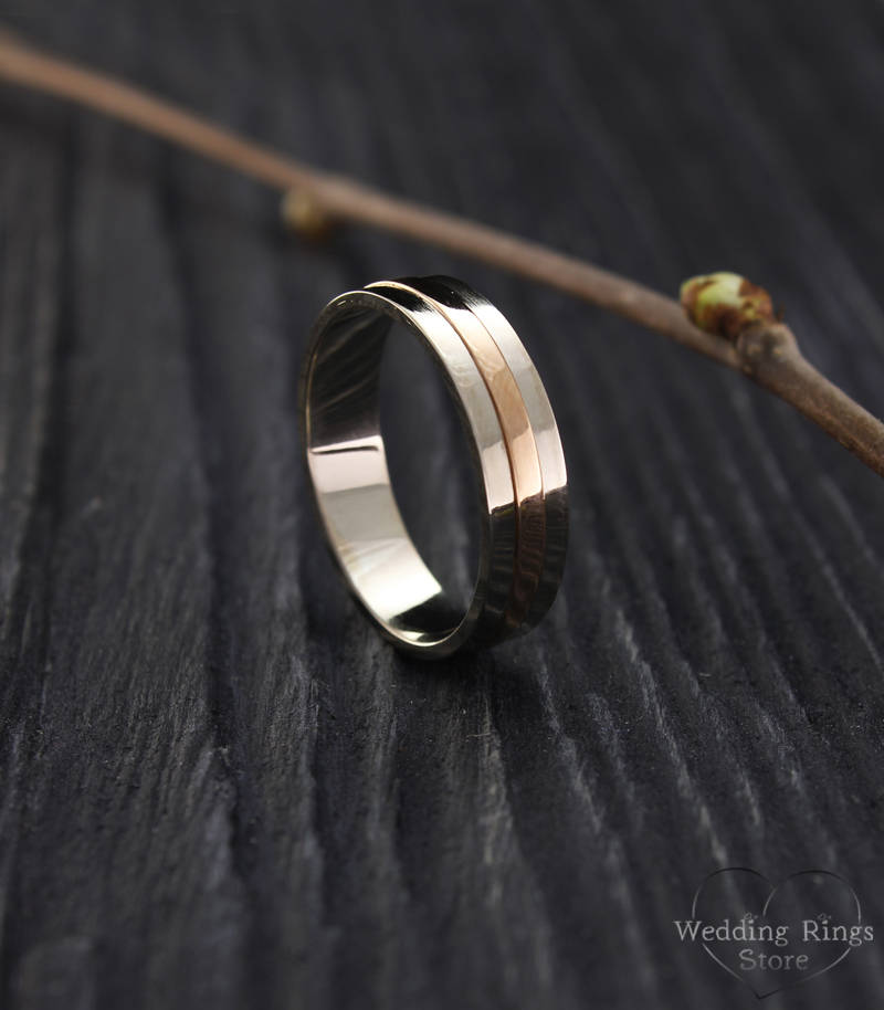 Modern Plain Two Tone Wedding Band For Him & Her in 14K Solid White Rose Gold