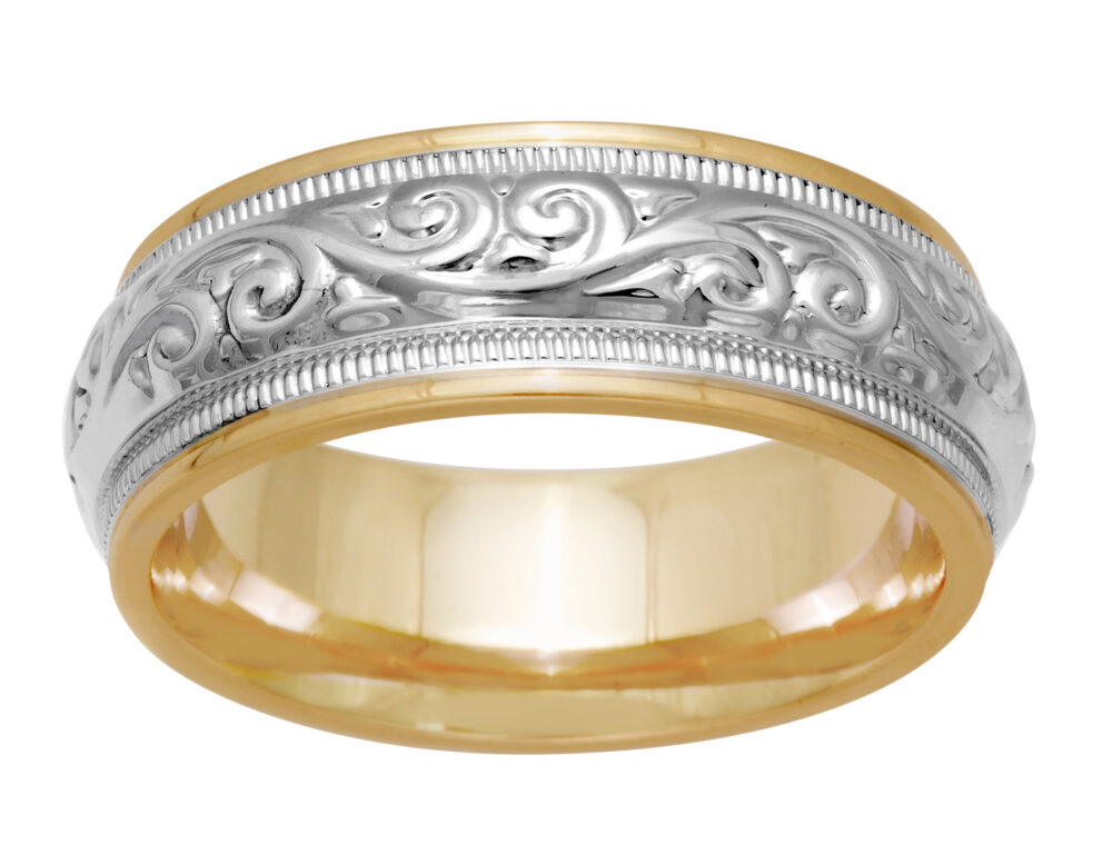 Designer 7mm Unique Two Tone Gold Hand Crafted Paisley Leaf Design, Comfort Fit With Beaded Milgrain Wedding Band, 14K, 18K, Free Engraving