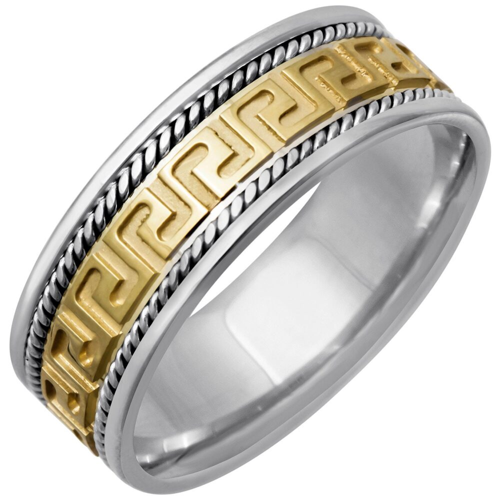 Two Tone Gold Designer Greek Key Wedding Band 8mm, Yellow & White Band, Braiding Edges, Comfort Fit