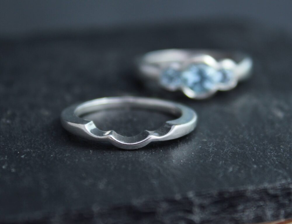 Matching Sterling Silver Band, Three Stone Bridal Set, Wedding Eco Friendly, Made To Order
