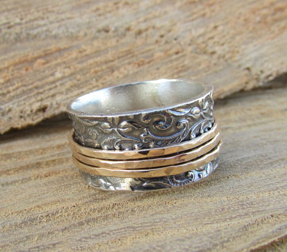 Celtic Spinner Wedding Rings, Oxidized Silver Band, Meditation Ring, Boho Wide Band Vintage Two Tone Ring