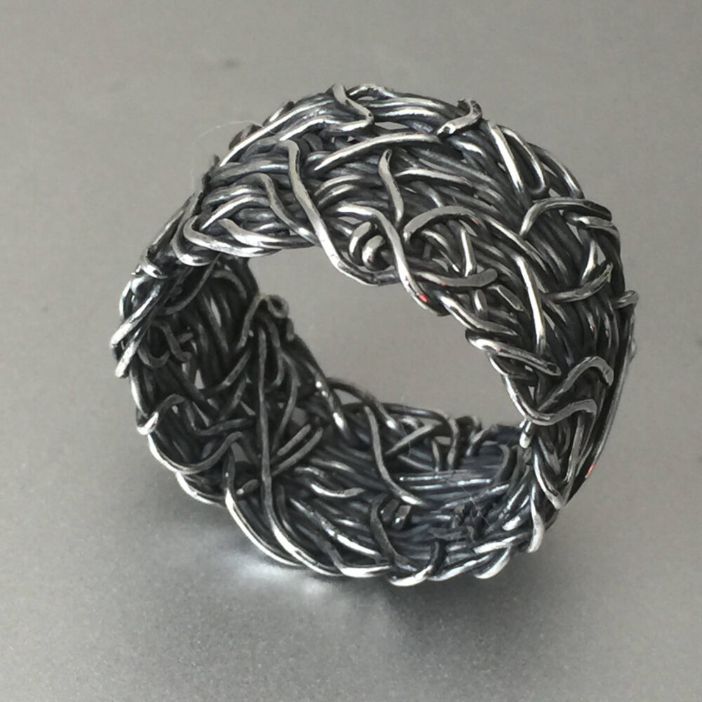 15mm Crown Of Thorns Ring, Wide Rustic Wedding Christian Jewelry, Oxidized Silver Band, Alternative Agape Love